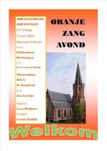johanneskerk kruiningen oranje zangavond
