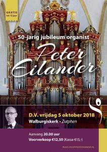 Walburgiskerk van Zutphen met organist peter eilander