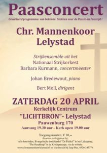 Lichtbron te Lelystad paasconcert mannenkoor Lelystad