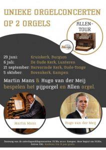 Kruiskerk te Burgum orgelconcert met Martin Mans en Hugo van der Meij