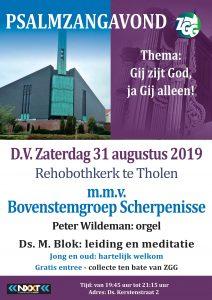 Rehobothkerk te Tholen psalmzangavond met bovenstem