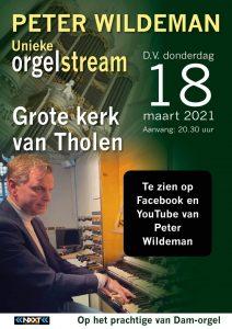 Peter Wildeman verzorgt unieke orgelstream in de Grote kerk van Tholen
