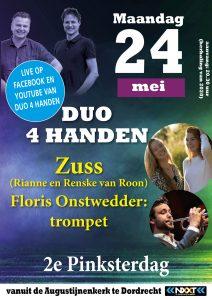 Zuss en Duo 4 handen geven concert op Pinksterdag vanuit de Augustijnenkerk