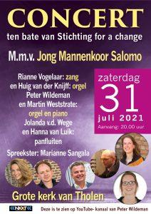 Concert ten bate van Stichting for a change vanuit Tholen