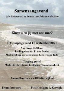 Triumfatorkerk van Katwijk samenzang met liederen van Johannes de Heer